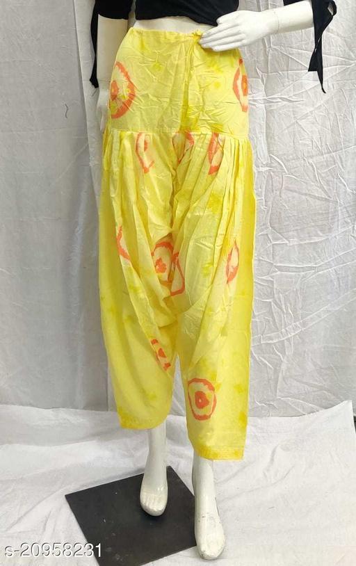 Women's Casual Cotton Bhandhej Print Patiala/Salwar (Free Size)(Lemon)