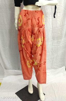 Women's Casual Cotton Bhandhej Print Patiala/Salwar (Free Size)(Peach)