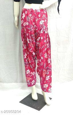 Women's Casual Cotton Flower Print Patiala/Salwar (Free Size)(Pink)