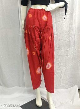 Women's Casual Cotton Bhandhej Print Patiala/Salwar (Free Size)(Red)
