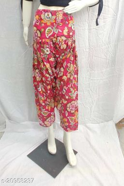 Women's Casual Cotton Flower Print Patiala/Salwar (Free Size)(Red)