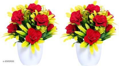 AMAPI Multicolor Rose Artificial Flower  with Pot (6 inch, Pack of 2)