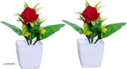 AMAPI Red, Green Rose Artificial Flower  with Pot (5 inch, Pack of 2)