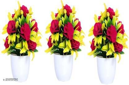 AMAPI Pink Rose Artificial Flower  with Pot (7 inch, Pack of 3)