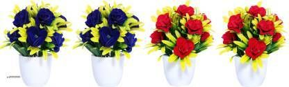 AMAPI Blue, Red Rose Artificial Flower  with Pot (10 inch, Pack of 4)