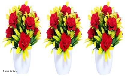 AMAPI Red Rose Artificial Flower  with Pot (8 inch, Pack of 3)