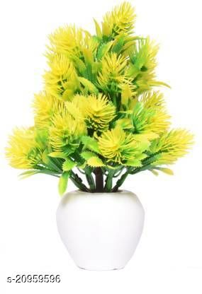 AMAPI Beautiful Yellow, Green Wil Bonsai Flower Plants (Pack of 1) Yellow Wild Flower Artificial Flower  with Pot (8 inch, Pack of 1)