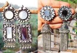 stylish mirror earrings for women designer combo of 2 silver earrings for party wear