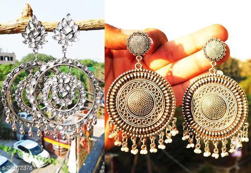 stylish silver earrings for women combo of 2 party wear earrings