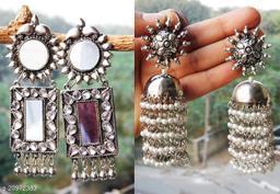 stylish combo of 2 party wear silver earrings for women