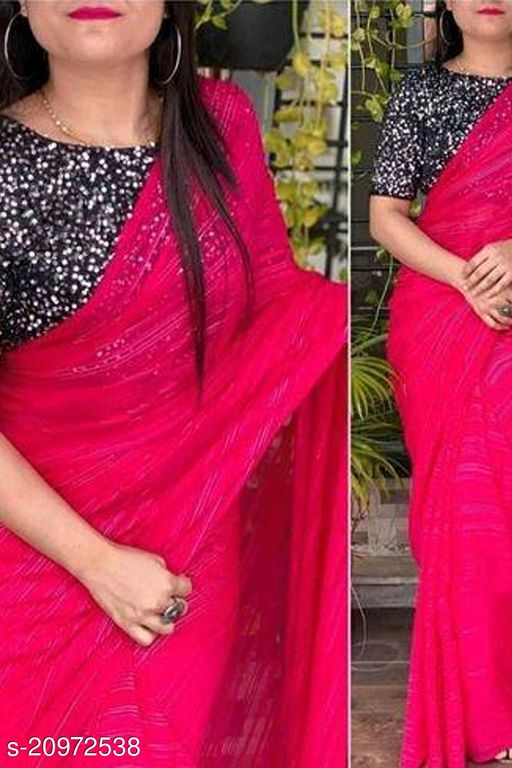 SOFT CHIFFON SAREE WITH SEQUENCE BLOUSE PEACE