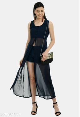 Women's Flared Navy Blue Georgette dress with belt