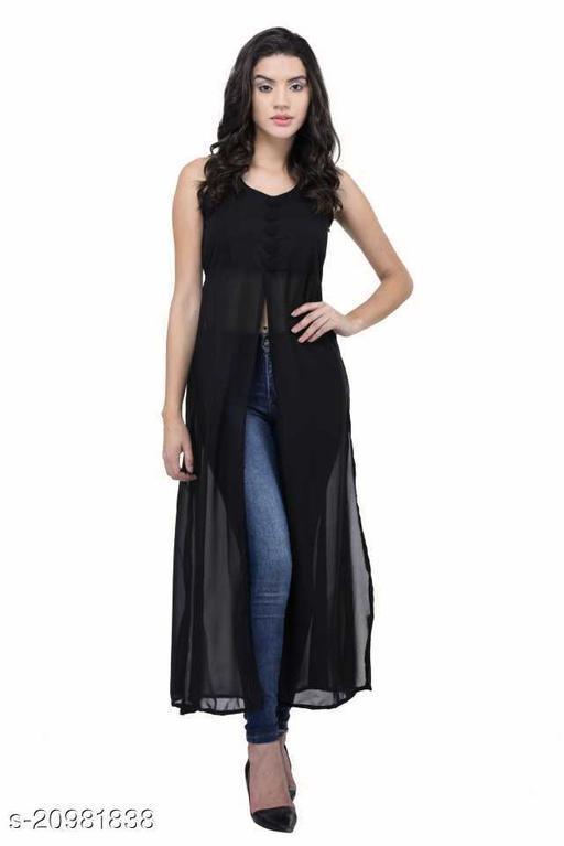 Women's black beautifull flared Georgette dress