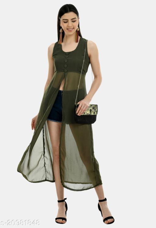 Women's Solid Green Georgette Dress
