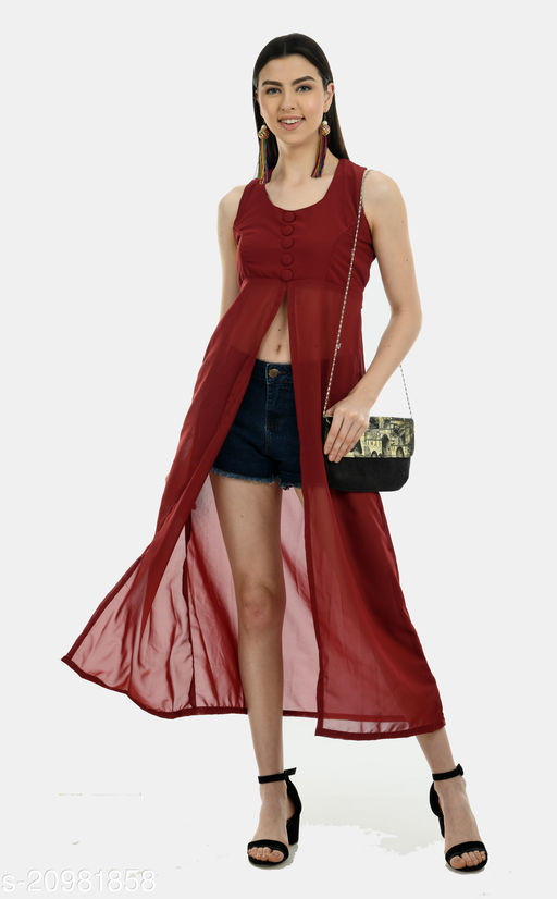 Women's Exotic Maroon Georgette Dress with Belt