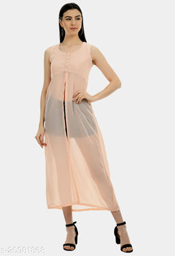 Women's Pink solid Exotic georgette dress
