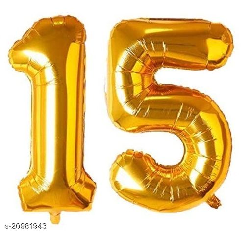 CC&S Solid '15' (FIFTEEN) Number/Digit/Numerical Foil balloon