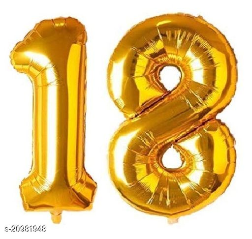 CC&S Solid '18' (EIGHTEEN) Number/Digit/Numerical Foil balloon