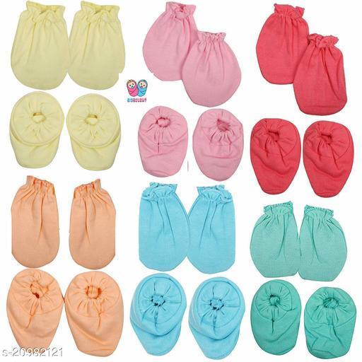 BIGBOUGHTNew Born Baby's Hosiery Organic Cotton plain Mitten and Booties Set, Gloves & Socks (Multicolour, 0-1 Year) - Combo Set of 6