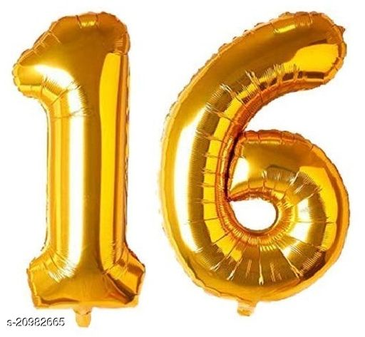 CC&S Solid '16' (SIXTEEN) Number/Digit/Numerical Foil balloon