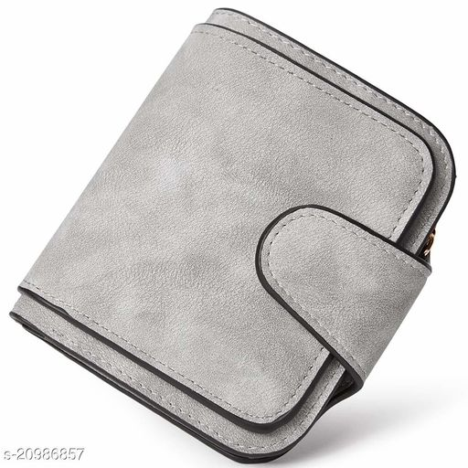 Women's Leather Bi-fold Card Holder RFID Blocking Wallet (Grey)