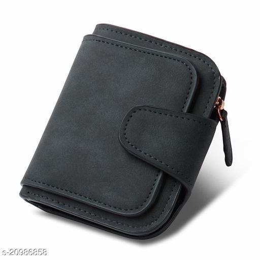 Bi-fold Card Holder Polyurethane RFID Blocking Women's Wallet (Black)