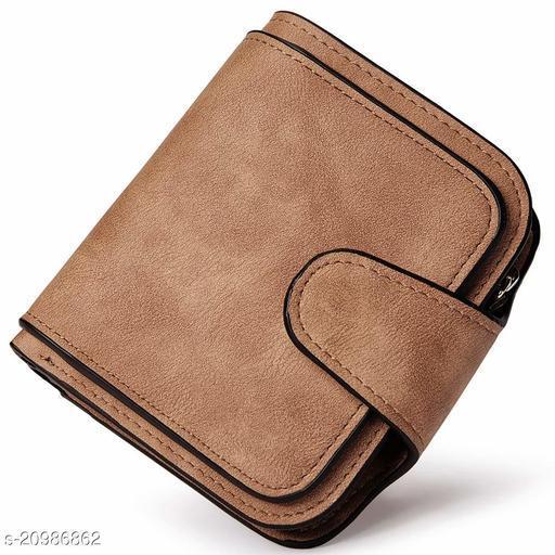 Synthetic Bi-fold Card Holder RFID Blocking Women's Wallet (Brown)
