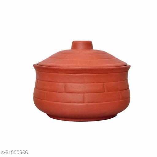 Vaghbhatt Clay Curd Pot/Dahi Handi/Biryani Handi with Lid, Clay Handi for Making Curd and Storing 100% Natural Clay (Pack of 1, 800ml)