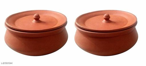 Vaghbhatt Combo Pack of 2 Clay Handi/Clay Dal Handi, Clay Dahi Handi, Biryani Handi with Lid for Dining Table/Home/Kitchen(Set of 2 pcs Medium Size)