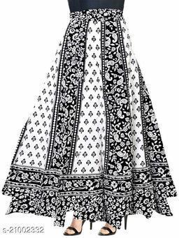 Women Cotton Blend Black & White Jaipuri Ethnic Print Wrap Around Skirt