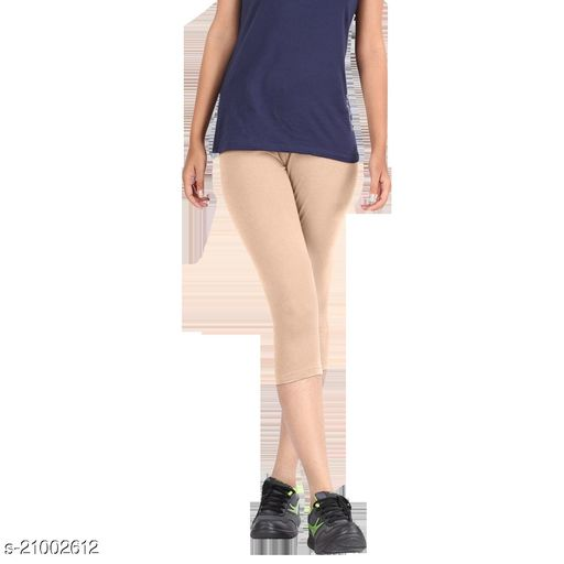 Lets Shine 3/4 cotton stretched Capris Leggings(Free Size Pack of 2) for Girls & Women-(Beige & Black)