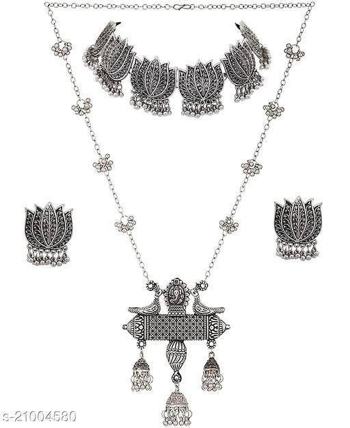 PRASUB new designer fancy silver and lotus designer necklace set