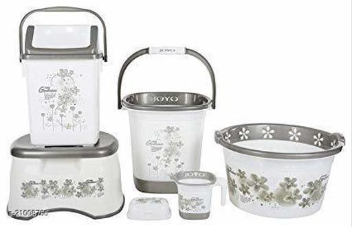 JOYO Plastic Bathroom Square Shape Bucket Tub Mug Dustbin 6 Piece Set Bathroom Accessories Set(Grey)