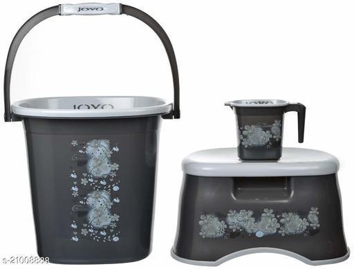 JOYO Multipurpose Bathroom Round Shape Bucket Mug Stool 3 Piece Set Printed Bathroom Accessories Set(Grey)
