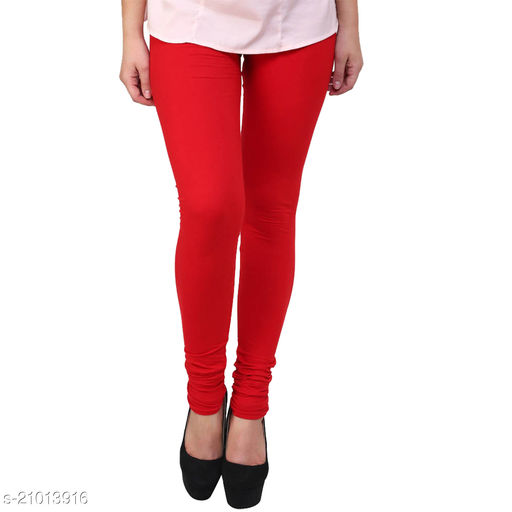 Style Pitara cotton lycra 160 GSM 4 way stretchable churidar cotton leggings for females of free size (Red)