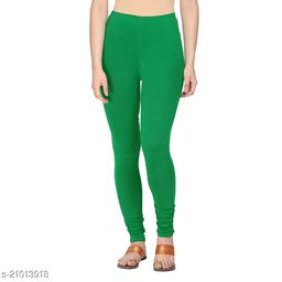 Style Pitara cotton lycra 160 GSM 4 way stretchable churidar cotton leggings for females of free size (Green)