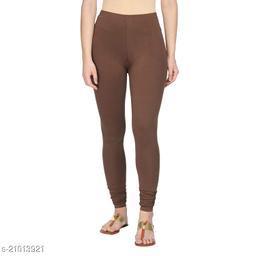 Style Pitara cotton lycra 160 GSM 4 way stretchable churidar cotton leggings for females of free size (Dark Brown)