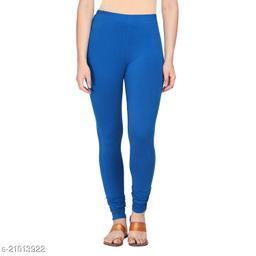Style Pitara cotton lycra 160 GSM 4 way stretchable churidar cotton leggings for females of free size (Blue)