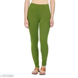 Style Pitara cotton lycra 160 GSM 4 way stretchable churidar cotton leggings for females of free size (Dark Green)