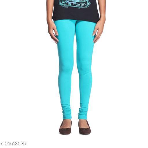 Style Pitara cotton lycra 160 GSM 4 way stretchable churidar cotton leggings for females of free size (Sea Green)