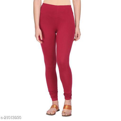 Style Pitara cotton lycra 160 GSM 4 way stretchable churidar cotton leggings for females of free size (Maroon)