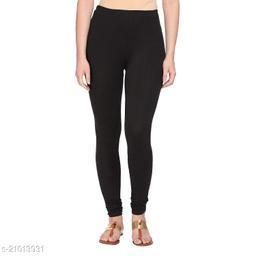 Style Pitara cotton lycra 160 GSM 4 way stretchable churidar cotton leggings for females of free size (Black)