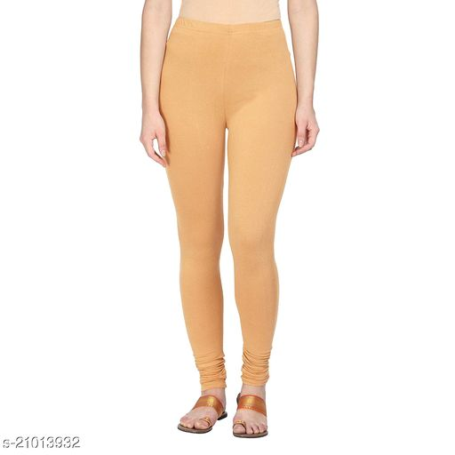 Style Pitara cotton lycra 160 GSM 4 way stretchable churidar cotton leggings for females of free size (Beige)