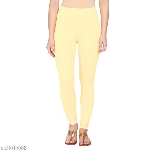 Style Pitara cotton lycra 160 GSM 4 way stretchable churidar cotton leggings for females of free size (Cream)