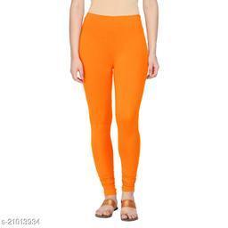 Style Pitara cotton lycra 160 GSM 4 way stretchable churidar cotton leggings for females of free size (Orange)