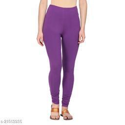 Style Pitara cotton lycra 160 GSM 4 way stretchable churidar cotton leggings for females of free size (Purple)