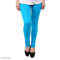 Style Pitara cotton lycra 160 GSM 4 way stretchable churidar cotton leggings for females of free size (Sky Blue)