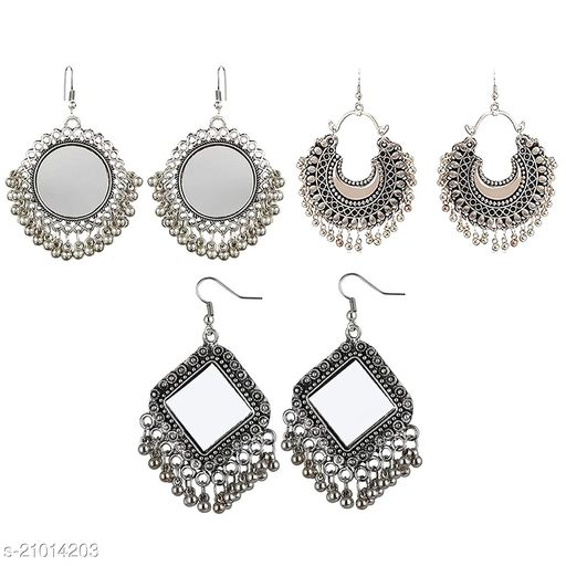 Multicolour Oxidized Silver Earrings for Girl - Pack of 3 Combo