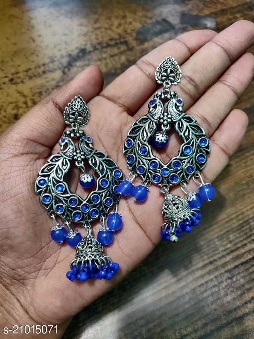 Peacock Designer Traditional Oxidized Silver Afghani Style Big Jhumka Jhumki  for Women and Girls