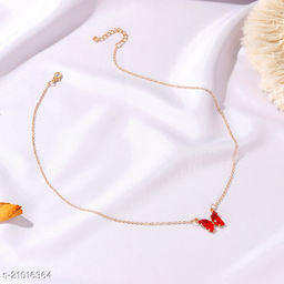 Arzonai wind glass crystal butterfly necklace Korea super fairy dream transparent color glass butterfly clavicle chain necklace